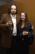 Keith Tyson and his wife Xenia Tyson, Keith Tyson post exhibition opening party. Circus, Soho. 2 November 2004. ONE TIME USE ONLY - DO NOT ARCHIVE  © Copyright Photograph by Dafydd Jones 66 Stockwell Park Rd. London SW9 0DA Tel 020 7733 0108 www.dafjones.com