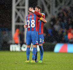 Crystal Palace's Joe Ledley celebrates with Crystal Palace's Joel Ward - Photo mandatory by-line: Alex James/JMP - Mobile: 07966 386802 - 23/11/2014 - Sport - Football - London -  - Crystal palace  v Liverpool - Barclays Premier League