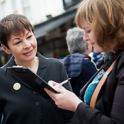 Caroline Lucas Greenparty campaign in Brighton.