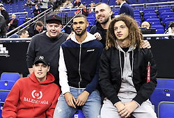 Ruben Loftus-Cheek (centre), Ethan Ampadu (right) and Andreas Christensen (bottom left) pose for a picture with fans during the NBA London Game 2019 at the O2 Arena, London.