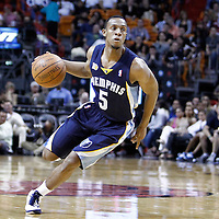 12 March 2011: Memphis Grizzlies point guard Ishmael Smith (5) brings the ball upcourt during the Miami Heat 118-85 victory over the Memphis Grizzlies at the AmericanAirlines Arena, Miami, Florida, USA. **