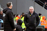 Aston Villa Manager Steve Bruce has words with Hull City Manager Nigel Adkins  during the EFL Sky Bet Championship match between Hull City and Aston Villa at the KCOM Stadium, Kingston upon Hull, England on 31 March 2018. Picture by Mick Atkins.