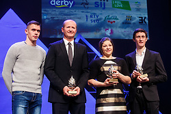 Peter Prevc and Tina Trstenjak winner of Slovenian sport athlete of the year  and Nik Zupancic head coach of Slovenian hockey team with trophy for best Slovenian sport team of the year at Slovenian Sports personality of the year 2016 annual awards presented on the base of Slovenian sports reporters, on December 13, 2016 in Cankarjev dom, Ljubljana, Slovenia. Photo by Grega Valancic / Sportida