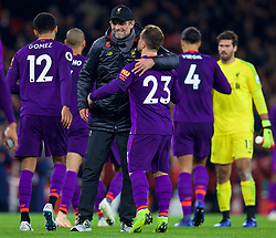 LONDON, ENGLAND - Saturday, November 3, 2018: Liverpool's manager Jürgen Klopp embraces Xherdan Shaqiri after the FA Premier League match between Arsenal FC and Liverpool FC at Emirates Stadium. The game ended in a 1-1 draw (Pic by David Rawcliffe/Propaganda).