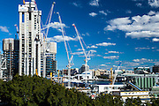 Construction of the new  James Packer Sydney Casino, Barangaroo. Its in a prime location in Sydney and this is the view from The Rocks area of Sydney. British architects Wilkinson Eyre have been awarded the assignment of designing the dream resort casino at Barangaroo- 7 Aug 2014