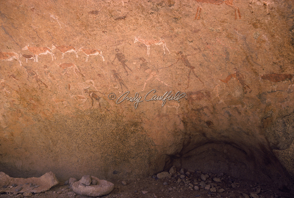 """Rock paintings including the figure named """"The White Lady"""" (center) Brandberg Mountain, Damaraland, Namibia, Africa"""