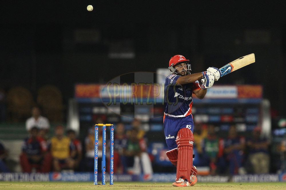 Kedar Jadhav of the Delhi Daredevils top edges a delivery behind to the boundary during match 45 of the Pepsi IPL 2015 (Indian Premier League) between The Delhi Daredevils and the Sunrisers Hyderabad held at the Shaheed Veer Narayan Singh International Cricket Stadium in Raipur, India on the 9th May 2015.<br /> <br /> Photo by:  Shaun Roy / SPORTZPICS / IPL