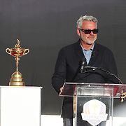 Ryder Cup 2016. Day Three. Captain Darren Clarke of Europe speaking during presentations after the Sunday singles competition at  the Ryder Cup tournament at Hazeltine National Golf Club on October 02, 2016 in Chaska, Minnesota.  (Photo by Tim Clayton/Corbis via Getty Images)