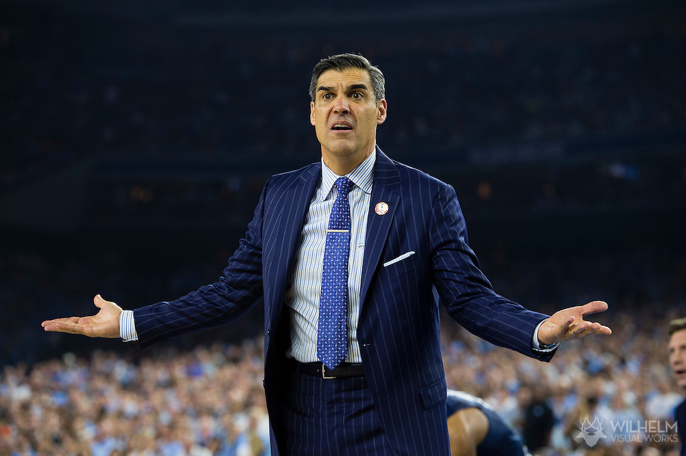 04 APR 2016: Head Coach Jay Wright of Villanova University protests a call by the referees against the University of North Carolina during the 2016 NCAA Men's Division I Basketball Final Four Championship game held at NRG Stadium in Houston, TX.  Brett Wilhelm/NCAA Photos