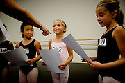 From left, Allie Umemoto, 6, of Sacramento, Taylor Graves, 8, of Sacramento, and Sophia Bonenfant, 8, of Granite Bay are selected for the Sacramento Ballet's Nutcracker production on Sunday, September 10, 2006. (Photo by Max Whittaker)