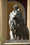 Teatro Massimo on Piazza Giuseppe Verde Palermo Sicily Italy, Detail view of a Bronze Sculpture of a Lion