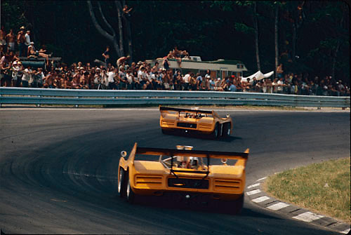 Peter Revson trails Denny Hulme in their McLaren M20s during the 1972 Watkins Glen Can-Am,Photo by Pete Lyons 1972/ © 2014 Pete Lyons / petelyons.com;