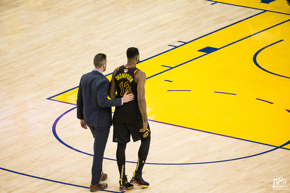 Cleveland Cavaliers center Tristan Thompson (13) is ejected from the game after hitting Golden State Warriors forward Draymond Green (23) in the face with the basketball during a scuffle during Game 1 of the NBA Finals at Oracle Arena in Oakland, Calif., on May 31, 2018. (Stan Olszewski/Special to S.F. Examiner)