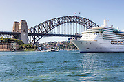 Cruise Ship Leaving Port at Sydney Harbour Australia