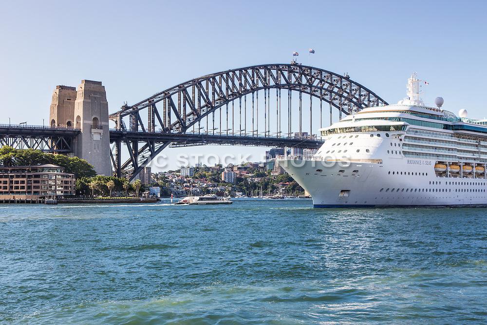 Cruise Ship Leaving Port at Sydney Harbour Australia