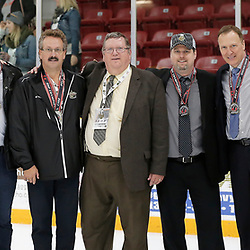 TRENTON, ON  - MAY 6,  2017: Canadian Junior Hockey League, Central Canadian Jr. &quot;A&quot; Championship. The Dudley Hewitt Cup Championship Game between The Trenton Golden Hawks and The Georgetown Raiders. Trenton Golden Hawks Staff during post game celebrations. <br /> (Photo by Amy Deroche / OJHL Images)