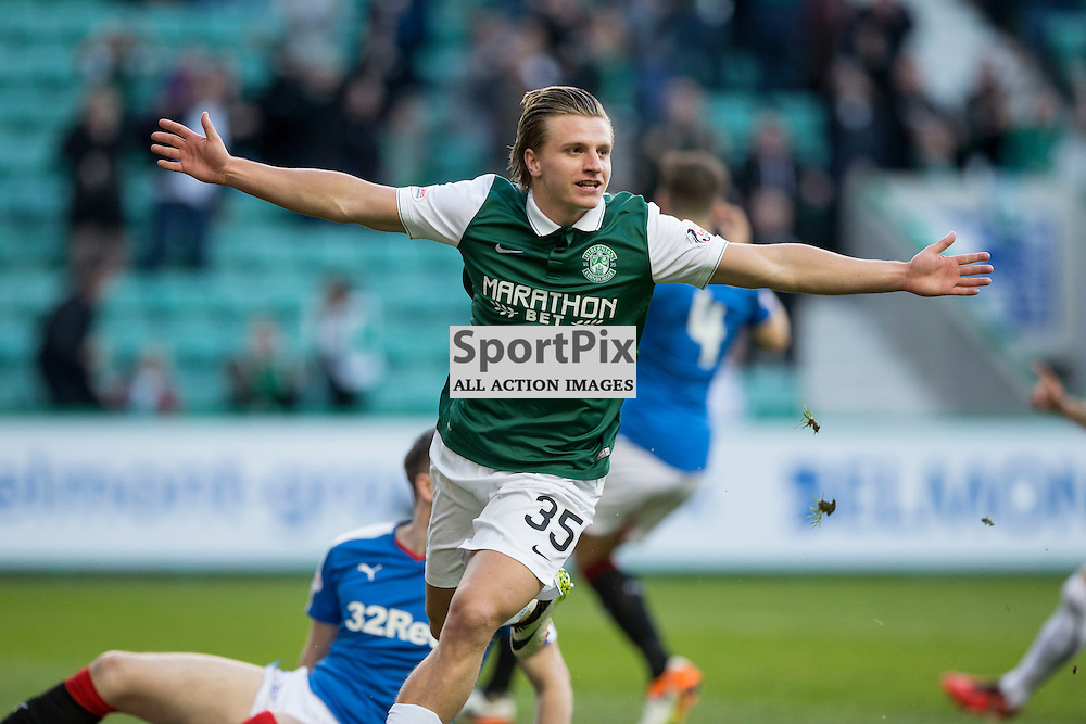 Hibernian FC v Rangers FC <br /> <br /> Jason Cummings (Hibernian) celebrates opening the scoring during the SPFL Championship match between Hibernian and Rangers at Easter Road Stadium on Wednesday 20 April 2016.<br /> <br /> Picture Alan Rennie.