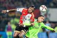 ROTTERDAM - Feyenoord - Ajax , Voetbal , KNVB Beker , Seizoen 2015/2016 , Stadion de Kuip , 25-10-2015 , Speler van Feyenoord Eljero Elia (l) in duel met Ajax speler Kenny Tete (r)