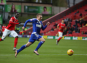 Ipswich striker Freddie Sears driving into the box to score Ipswich second goal of the game during the Sky Bet Championship match between Charlton Athletic and Ipswich Town at The Valley, London, England on 28 November 2015. Photo by Matthew Redman.