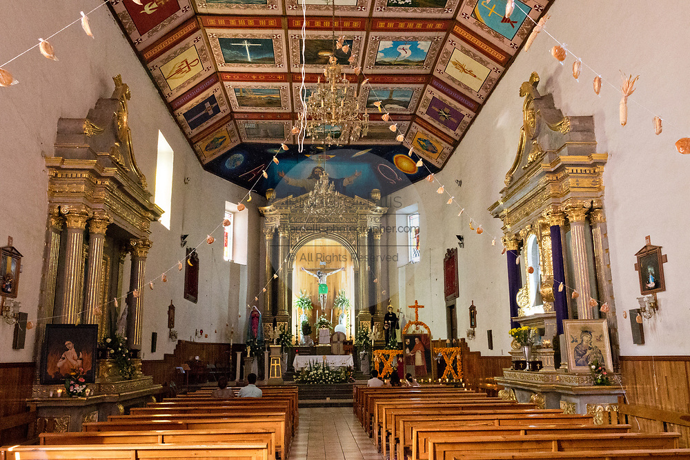Interior view of the Parroquia de San Diego de Alcalá church in Quiroga, Michoacan, Mexico.