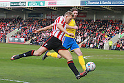 Danny Wright  during the Vanarama National League match between Cheltenham Town and Lincoln City at Whaddon Road, Cheltenham, England on 30 April 2016. Photo by Antony Thompson.
