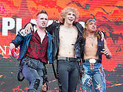 West End Live 2018 <br /> Trafalgar Square, London, Great Britain <br /> 16th June 2018 <br /> <br /> Excerpts from West End musicals perform live on stage in Trafalgar Square, London <br /> <br /> <br /> Bat Out of Hell The Musical <br /> <br /> <br /> Photograph by Elliott Franks