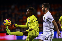 January 26, 2019 - Valencia, Spain - Samuel Chimerenca Chukwueze of Villarreal CF (L) and Jose Luis Gaya of Valencia CF during  spanish La Liga match between Valencia CF vs Villarreal CF at Mestalla Stadium on Jaunary  26, 2019. (Credit Image: © Jose Miguel Fernandez/NurPhoto via ZUMA Press)