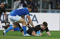 November 24, 2018 - Rome, Italy - Italy v New Zealand All Blacks - Rugby Cattolica Test Match.New Zealands Jordie Barrett scroes a try at Olimpico Stadium in Rome, Italy on November 24, 2018. (Credit Image: © Matteo Ciambelli/NurPhoto via ZUMA Press)