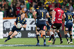 Highlanders' Ben Smith, left, makes a run against the Crusaders in the Super Rugby match, Forsyth Barr Stadium, Dunedin, New Zealand, Saturday, March 17, 2018. Credit:SNPA / Adam Binns ** NO ARCHIVING**