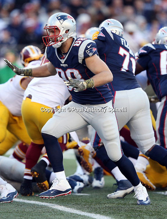 New England Patriots tight end Scott Chandler (88) blocks during the 2015 week 9 regular season NFL football game against the Washington Redskins on Sunday, Nov. 8, 2015 in Foxborough, Mass. The Patriots won the game 27-10. (©Paul Anthony Spinelli)