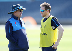 England coach Trevor Bayliss and Eoin Morgan during the nets session at the Bristol County Ground.