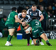 Dan Baker of Ospreys under pressure from Dominic Robertson-McCoy of Connacht<br /> <br /> Photographer Simon King/Replay Images<br /> <br /> Guinness PRO14 Round 6 - Ospreys v Connacht - Saturday 2nd November 2019 - Liberty Stadium - Swansea<br /> <br /> World Copyright © Replay Images . All rights reserved. info@replayimages.co.uk - http://replayimages.co.uk