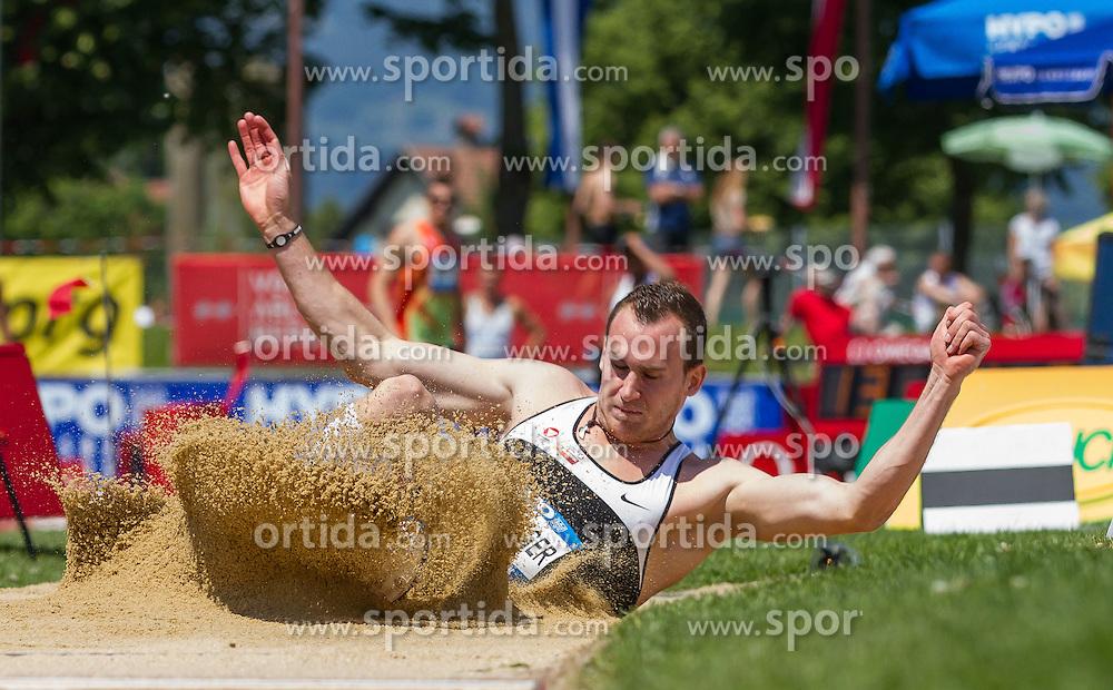 26.05.2012, Moeslestadion, Goetzis, AUT, 38. Hypo Meeting Goetzis 2012, Zehnkampf der Herren, Weitsprung, im Bild Dominik Distelberger (AUT) // Dominik Distelberger of Austria during the 38. Hypo Meeting Goetzis 2012, Men's decathlon, Long jump at the Moeslestadion, Goetzis, Austria on 2012/26/05. EXPA Pictures © 2012, PhotoCredit: EXPA/ Peter Rinderer