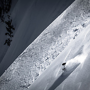 Owen Dudley drops into the Mount Baker Backcountry just as the sun hits the horizon.