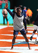 Sep 15, 2019; Miami Gardens, FL, USA;  New England Patriots wide receiver Antonio Brown (17) stretches before an NFL game between the Miami Dolphins and the New England Patriots at Hard Rock Stadium in Miami Gardens, FL. The Patriots beat the Dolphins 43-0. (Steve Jacobson/Image of Sport)