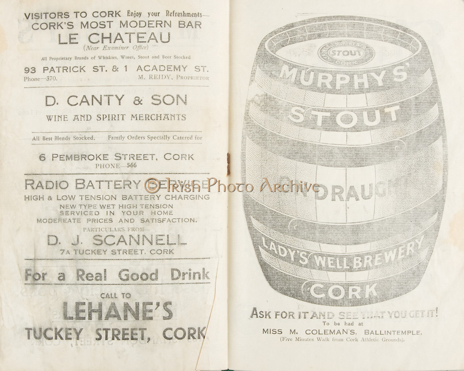 Munster Senior and Minor Hurling Championship Final, .11081935MSMHCF,..11.08.1935, 08.11.1935, 11th August 1935,.Senior Limerick v Tipperary,.Minor Tipperary v Cork,..Cork's most modern Bar, Le Chateau, 93 Patrick St & 1 Academy Street,..D Canty & Son Wine and Spirit Merchants, 6 Pembroke St Cork,..D J Scannell, Radio Battery Service, 7a Tuckey Street, Cork,..Lehane's Tuckey St Cork, for a real good drink,..Murphy's Stout, Lady's well brewery Cork, Miss M Colemans Ballintemple,