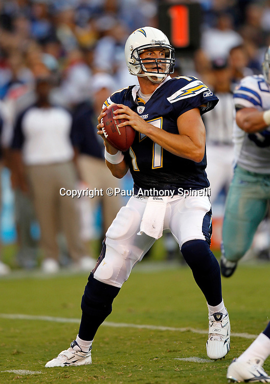 San Diego Chargers quarterback Philip Rivers (17) throws a pass during a NFL week 2 preseason football game against the Dallas Cowboys on Saturday, August 21, 2010 in San Diego, California. The Cowboys won the game 16-14. (©Paul Anthony Spinelli)
