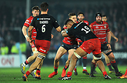 Jason Woodward of Gloucester Rugby is tackled by Will Skelton of Saracens - Mandatory by-line: Nizaam Jones/JMP - 22/02/2019 - RUGBY - Kingsholm - Gloucester, England- Gloucester Rugby v Saracens - Gallagher Premiership Rugby