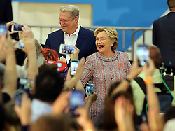 Former vice president Al Gore joined U.S presidential candidate Hillary Clinton at a campaign rally on Tuesday, October 11, 2016 at Miami Dade College Kendall Campus in Miami, FL, USA. Photo by Pedro Portal/Miami Herald/TNS/ABACAPRESS.COM