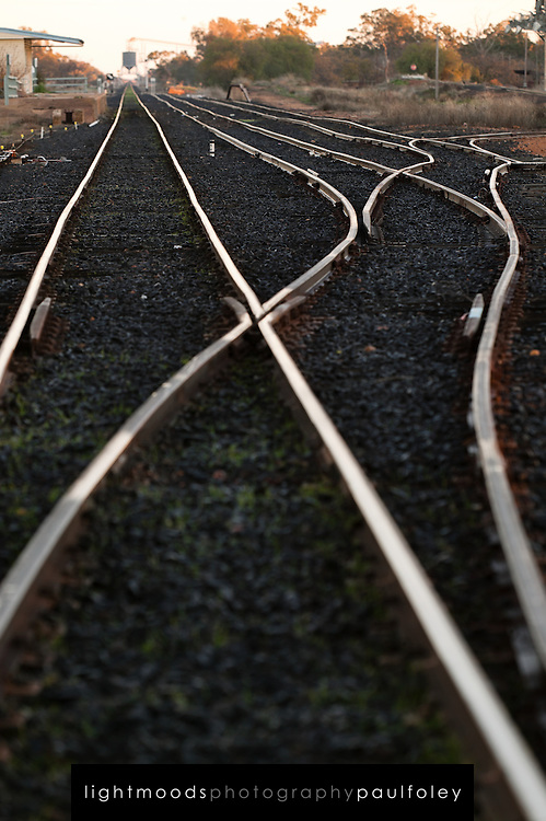 Rail Tracks in afternoon light, Western NSW, Australia