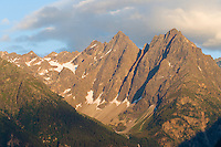 IFTE-NB-007860; Niall Benvie; View from Kaunerberg; Tirol; Austria; Europe; ötztaler Alps; mountains forest; horizontal; high pointed steep treeline; green white blue; upland mountain hill slope woodland forest; 2008; July; summer; evening; Wild Wonders of Europe Naturpark Kaunergrat