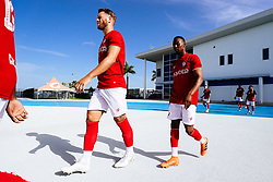Nathan Baker and Opi Edwards of Bristol City during the 2nd leg of the match after the previous day's game was abandoned at half time due to extreme weather - Rogan/JMP - 14/07/2019 - IMG Academy, Bradenton - Florida, USA - Bristol City v Derby County - Pre-Season Tour Day 3.