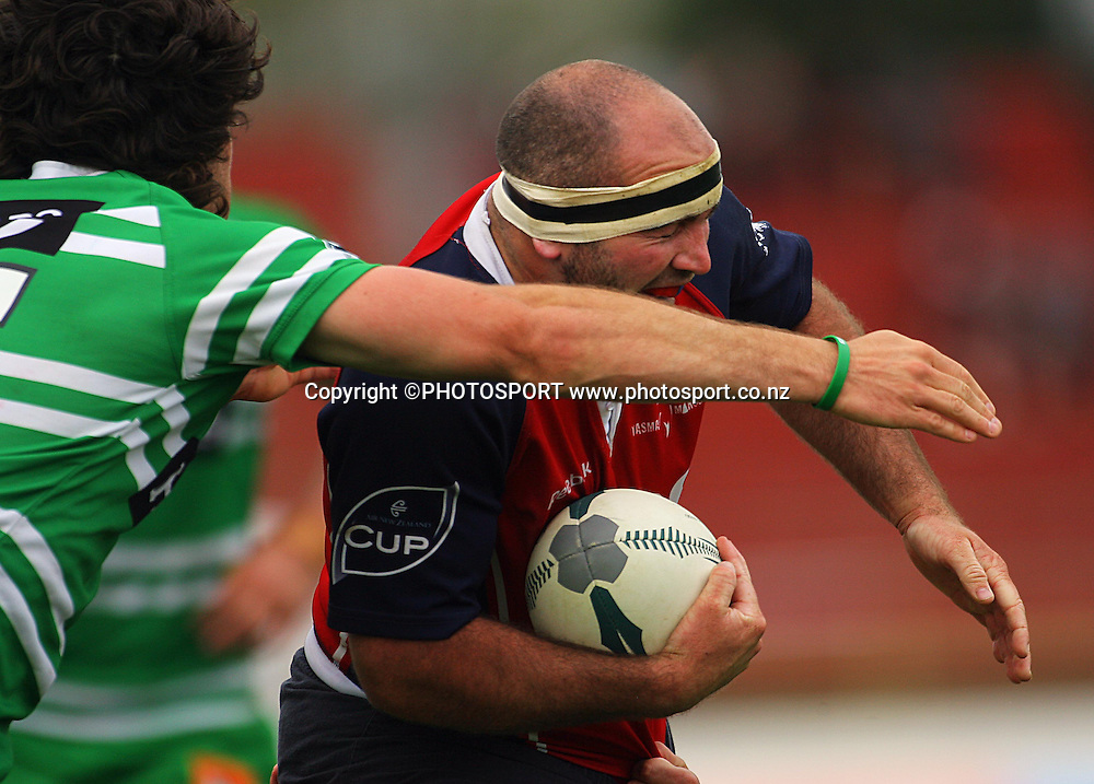 Tasman hooker Daniel Perrin charges into Francisco Bosch.<br /> Air NZ Cup. Manawatu Turbos v Tasman Makos at Arena Manawatu, Palmerston North, New Zealand, Saturday, 4 October 2008. Photo: Dave Lintott/PHOTOSPORT