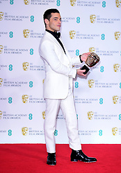 Rami Malek with his Best Actor in a Leading Role for Bohemian Rhapsody in the press room at the 72nd British Academy Film Awards held at the Royal Albert Hall, Kensington Gore, Kensington, London.