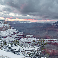 Pink clouds of sunset. Yavapai Point, Grand Canyon National Park, AZ