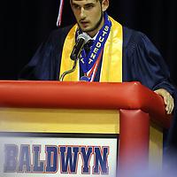 Baldwyn High School salutatorian Josh Hester addresses the Baldwyn High School class of 2019 during their ceremony Friday night.