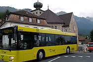 Liechtenstein  Triesenberg  June 2008.Town Hall and Liechtenstein Bus.