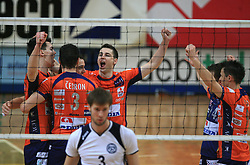 Sket, Perez, Flajs, Plesko celebrate at last final volleyball match of 1.DOL Radenska Classic between OK ACH Volley and Salonit Anhovo, on April 21, 2009, in Arena SGS Radovljica, Slovenia. ACH Volley won the match 3:0 and became Slovenian Champion. (Photo by Vid Ponikvar / Sportida)