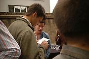 Conrad Shawcross and Beth Derbyshire. Rachel Kneebone private view. Madder Rose. Whitecross St. London EC1 22 June 2006. -DO NOT ARCHIVE-© Copyright Photograph by Dafydd Jones 66 Stockwell Park Rd. London SW9 0DA Tel 020 7733 0108 www.dafjones.com