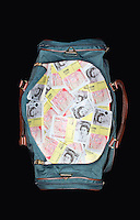 Bag full of sealed Pound banknotes view from above